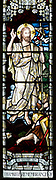 Stained glass window war memorial church of Saint Peter, Milton Lilbourne, by Jones and Willis 1919 detail showing Jesus Christ