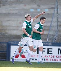 Hibernian's Jason Cummings cele scoring their second goal.  <br /> Half time : Raith Rovers 0 v 1 Hibernian, Scottish Championship game played 24/10/2015 at Starks Park.