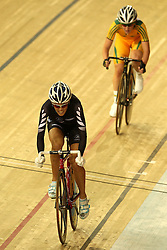 Joanne Kiesanowski of New Zealand leads Mega Dunn of Australia during the women's scratch race final held at the velodrome at the Indira Gandhi Sports Complex in New Delhi, India on the 7 October 2010..Photo by:  Ron Gaunt/SPORTZPICS/PHOTOSPORT
