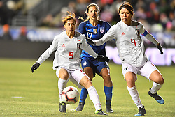 February 27, 2019 - Chester, PA, U.S. - CHESTER, PA - FEBRUARY 27: Japan Midfielder Hina Sugita (9) and Defender Saki Kumagai (4) keep back US Forward Tobin Heath (17) from the ball in the first half during the She Believes Cup game between Japan and the United States on February 27, 2019 at Talen Energy Stadium in Chester, PA. (Photo by Kyle Ross/Icon Sportswire) (Credit Image: © Kyle Ross/Icon SMI via ZUMA Press)