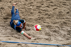 Marleen van Iersel in action. The Final Day of the DELA NK Beach volleyball for men and women will be played in The Hague Beach Stadium on the beach of Scheveningen on 23 July 2020 in Zaandam.