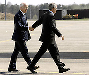 President Bush holds hands with US Rep. Christopher Shays, R-Conn. prior to departing on Air Force One at the Bradley Air National Guard Base in East Granby, Conn.   The President visited a Hartford youth organization and attended a GOP fundraiser in Kent.