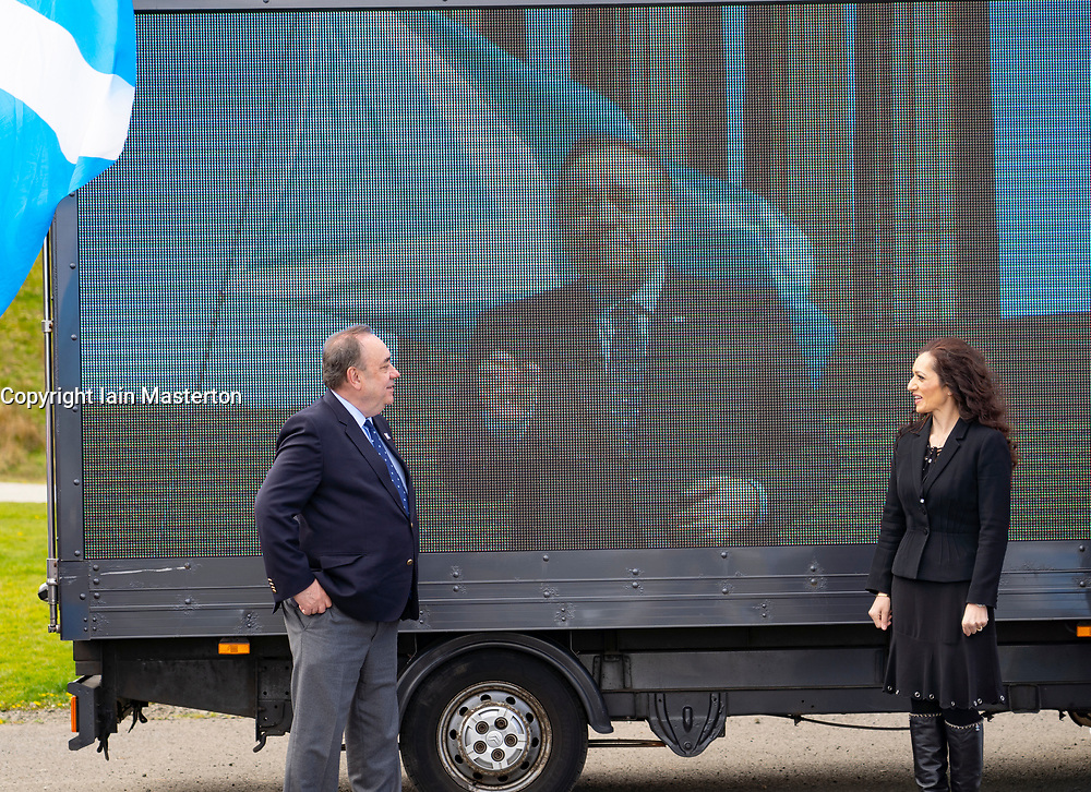 Falkirk, Scotland, UK. 30 April 2021. Leader of the pro Scottish nationalist Alba Party , Alex Salmond, campaigns with party supporters at the Falkirk Wheel ahead of Scottish elections on May 6th. Pic; Alex Salmond and Tasmina Ahmed-Sheikh stand beside ad van for Alba.  Iain Masterton/Alamy Live News