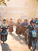 Traffic in the busy streets of Siem Reap, Cambodia