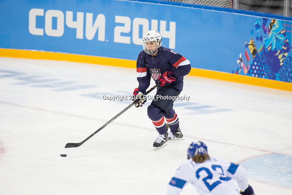 Gigi Marvin (USA) during ice hockey game vs FIN at the Olympic Winter Games, Sochi 2014