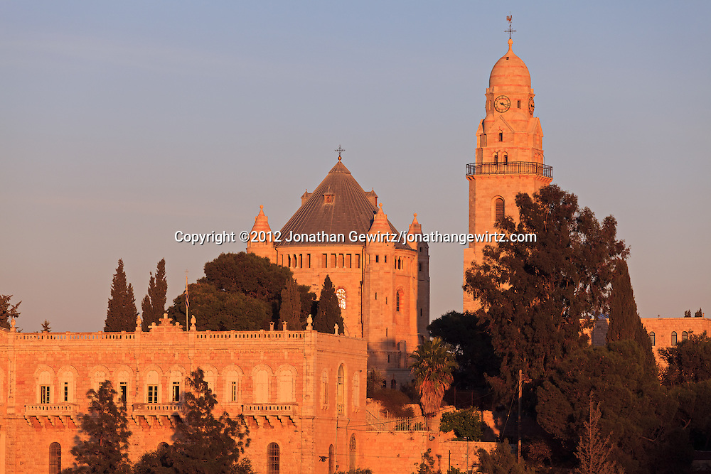 The Dormition Abbey on Jerusalem's Mount Zion. WATERMARKS WILL NOT APPEAR ON PRINTS OR LICENSED IMAGES.
