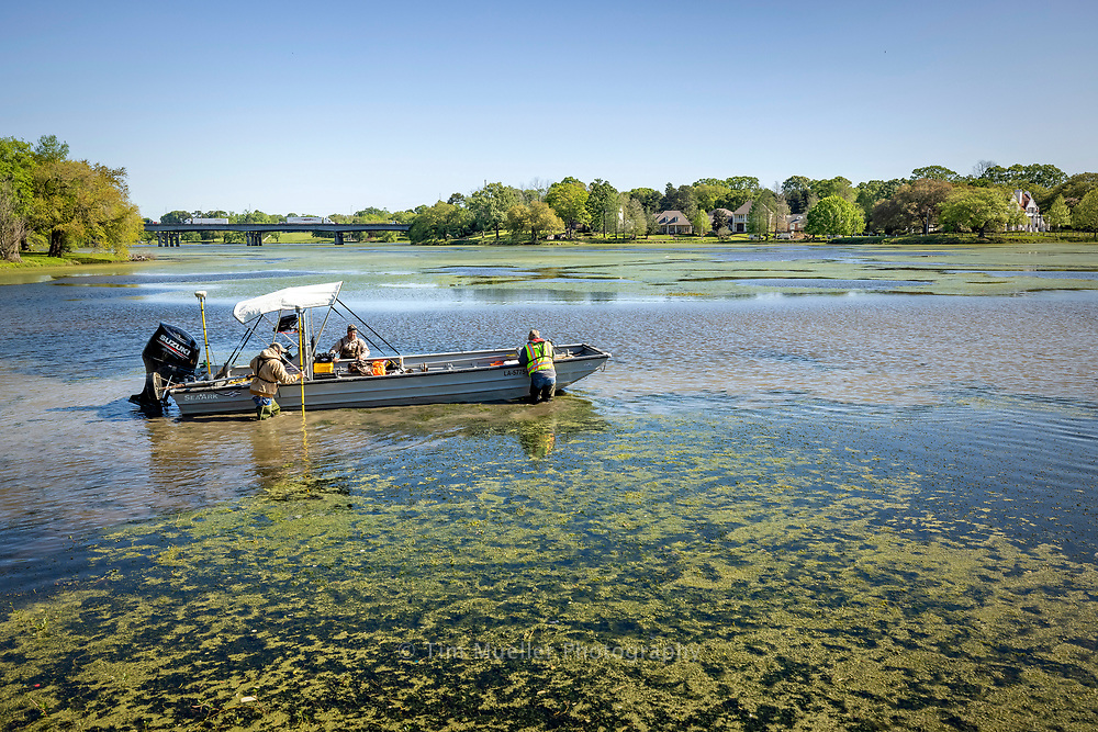 Fenstermaker survey technicians, from left, Kyle Lanclos, Richard Tauzin and Erick Kidder pull their boat through shallow water in City Park Lake while mapping the lake's depth Thursday, April 1, 2021.