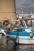 Close up of fishing boat in harbor, Calvi, Corsica, France