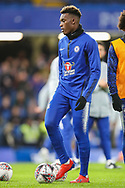 Chelsea midfielder Callum Hudson-Odoi (20) warms up prior to the The FA Cup fourth round match between Chelsea and Sheffield Wednesday at Stamford Bridge, London, England on 27 January 2019.