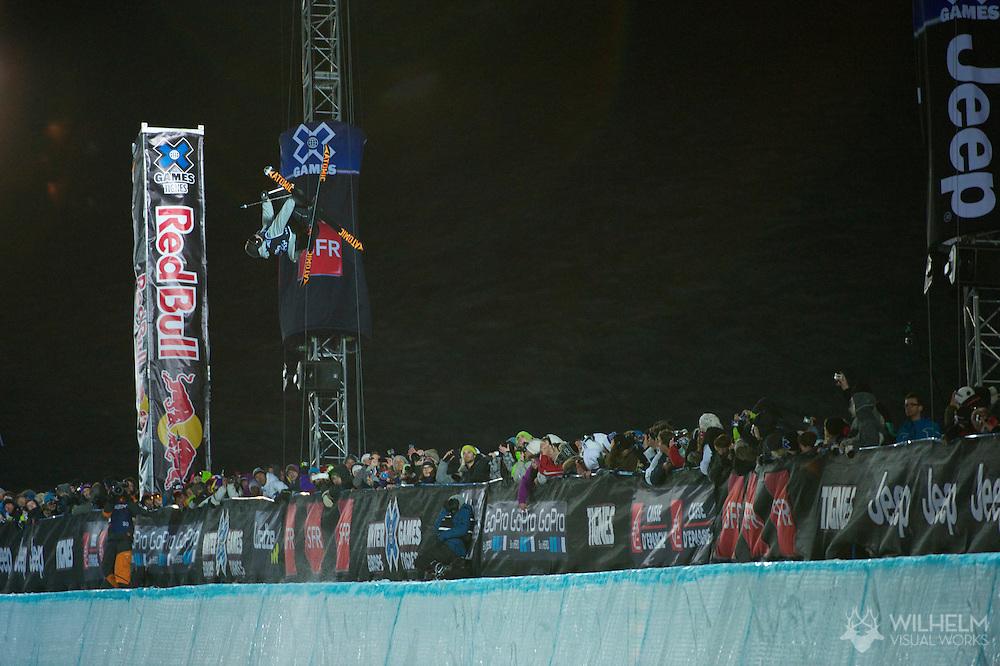 Byron Wells during Men's Ski SuperPipe Finals at the 2013 X Games Tignes in Tignes, France. ©Brett Wilhelm/ESPN