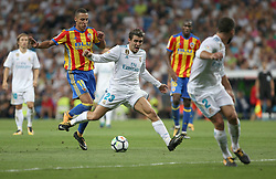 August 27, 2017 - Madrid, Spain - Kovacic fouled by Rodrigo. LaLiga Santander matchday 2 between Real Madrid and Valencia. The final score was 2-2, Marco Asensio scored twice for Real Madrid. Carlos Soler and Kondogbia did it for Valencia. Santiago Bernabeu Stadium, august 27, 2017. Photo by  (Credit Image: © |Antonio Pozo |  Media Expre/VW Pics via ZUMA Wire)