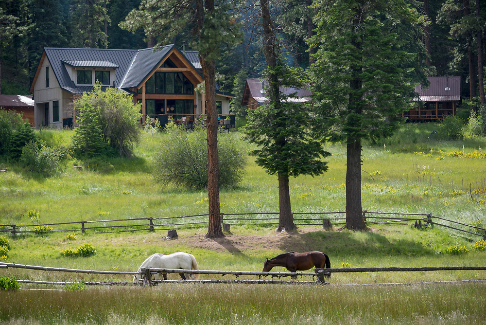 Horses at the Minam River Lodge in Oregon's Wallowa Mountains.