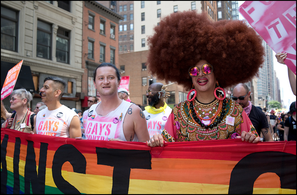 The Queer Liberation March was a people's political march - no corporate floats, and no police. The March recognized the powerful legacy of the Stonewall Rebellion by highlighting the most marginalized members of the community.  There were 45,000 attendees.<br /> <br /> The Queer Liberation March kicked off June 30th at 9:30 a.m. from the Stonewall Inn and proceeded up Sixth Avenue to Central Park for a community-focused Rally on the Great Lawn.<br /> <br /> The March was organized by the Reclaim Pride Coalition (RPC), a growing global coalition of over 100 organizations and thousands of individuals who are reclaiming the NYC Pride March so it better represents the LGBTQIA2+allies.