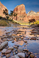 Angels Landing reflected in the waters of the Virgin River, Zion National Park Utah USA