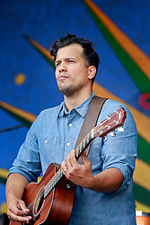 02 May 2014. New Orleans, Louisiana.<br /> Abner Ramirez  of Jonnyswim at the New Orleans Jazz and Heritage Festival. <br /> Photo; Charlie Varley/varleypix.com