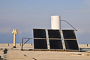 Solar water heater on a roof. Photographed in Israel