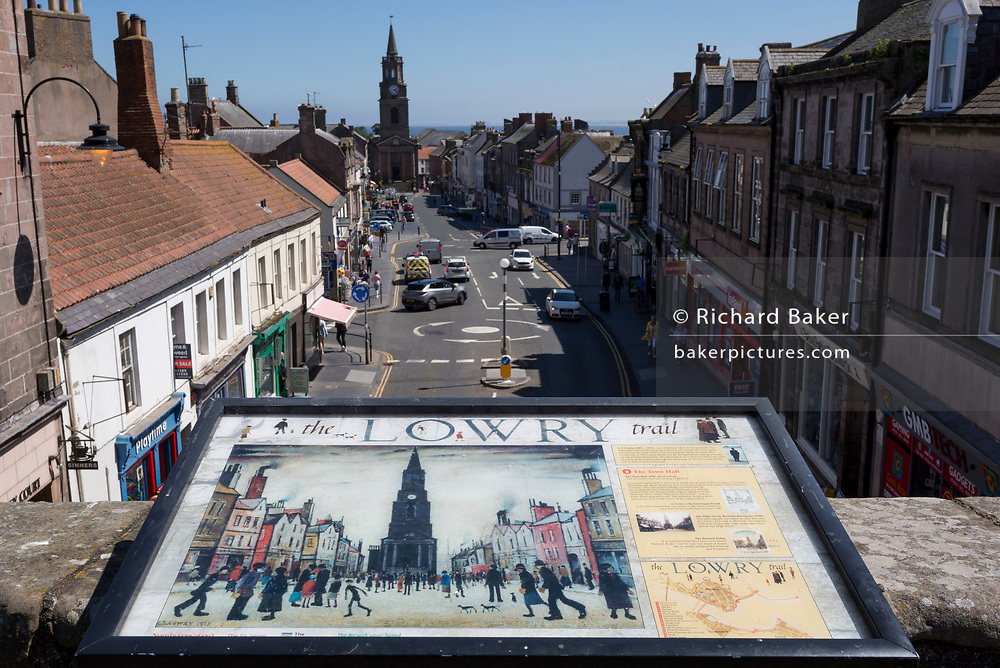 The view from the top of the Tudor fortified Scots Gate that overlooks Castlegate and the historic town of Berwick-upon-Tweed, the inspiration for one of artist LS Lowry's oil paintings entitled 'The Town Hall' (1935). Lowry visited Berwick many times from the mid-1930s until his death.