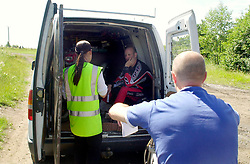 Two motorcyclists are issed with nois abatement orders during a police operation against illegal off road biking in the High Green area Sunday <br /><br />Image Copyright Paul David Drabble<br /><br />29 June 2003<br /><br />Copyright  Paul David Drabble<br /><br />[#Beginning of Shooting Data Section]<br />Nikon D1 <br /><br />2003/06/29 09:54:32.1<br /><br />JPEG (8-bit) Fine<br /><br />Image Size:  2000 x 1312<br /><br />Color<br /><br />Lens: 24mm f/2.8<br /><br />Focal Length: 24mm<br /><br />Exposure Mode: Programmed Auto<br /><br />Metering Mode: Multi-Pattern<br /><br />1/200 sec - f/7.1<br /><br />Exposure Comp