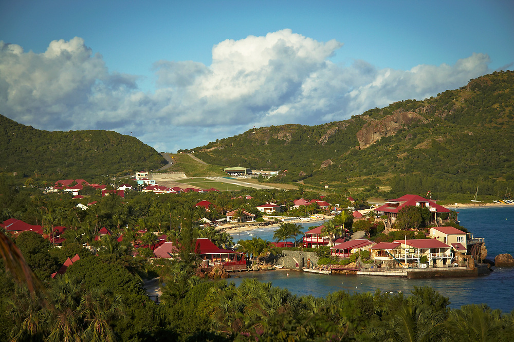 St. Jean Bay with the Eden Rock hotel peninsula and airport in background, St. Barthelemy, FWI