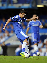 "Chelsea's Oscar shoots  - Photo mandatory by-line: Joe Meredith/JMP - Tel: Mobile: 07966 386802 21/08/2013 - SPORT - FOOTBALL - Stamford Bridge - London - Chelsea V Aston Villa - Barclays Premier League - EDITORIAL USE ONLY. No use with unauthorised audio, video, data, fixture lists, club/league logos or ""live"" services. Online in-match use limited to 45 images, no video emulation. No use in betting, games or single club/league/player publications"