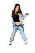 Young female teen modern dancer On white Background
