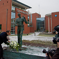 Inauguration ceremony of the first ever life-size bronze statue of late Apple leader Steve Jobs in Budapest, Hungary on December 21, 2011. ATTILA VOLGYI