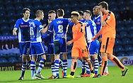 Donal McDermott goal celebration during the Sky Bet League 1 match between Rochdale and Colchester United at Spotland, Rochdale, England on 19 December 2015. Photo by Daniel Youngs.