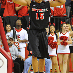 Rutgers Scarlet Knights guard/forward Derrick Randall (15) reacts to being called for a blocking foul during Rutgers' 67-60 upset victory over #8 UConn in NCAA Big East Basketball action at the Louis Brown Athletic Center in Piscataway, N.J. on Jan 7, 2012.
