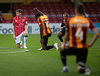 Lincoln City's Conor McGrandles takes the knee with Bradford City's Clayton Donaldson to support Black Lives Matter<br /> <br /> Photographer Chris Vaughan/CameraSport<br /> <br /> Carabao Cup Second Round Northern Section - Bradford City v Lincoln City - Tuesday 15th September 2020 - Valley Parade - Bradford<br />  <br /> World Copyright © 2020 CameraSport. All rights reserved. 43 Linden Ave. Countesthorpe. Leicester. England. LE8 5PG - Tel: +44 (0) 116 277 4147 - admin@camerasport.com - www.camerasport.com