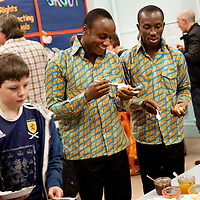 Picture Shows : Teachers Ayakwa Kwabena, Patrick Asiedu of Juliet Johnson School, Ghana..Muthill Primary School, Muthill by Crieff, Perthshire, Scotland stage an evening of international cooking to celebrate their joint work with a partner school Juliet Johnson School, Ghana which is visiting this week. They have strong links with the Ghanians and have helped to raise money to contribute toward funding a new school bus.   Feature for TESS..Picture Drew Farrell Tel : 07721-735041