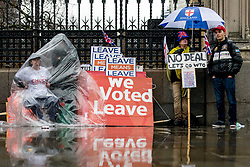 © Licensed to London News Pictures. 12/03/2019. London, UK. Anti-Brexit protesters brave heavy rain as they demonstrate outside Parliament. MPs will get a second meaningful vote on Prime Minister Theresa May's Brexit deal this evening. Photo credit: Rob Pinney/LNP