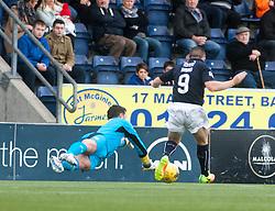 Falkirk's John Baird scoring their first goal. Falkirk v Raith Rovers. Scottish Championship game played 22/10/2016 at The Falkirk Stadium.