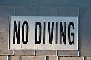 Swimming pool warning sign.  Indian Shores Tampa Bay Area Florida USA