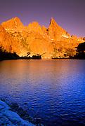 Dawn light on the Minarets from Minaret Lake, Ansel Adams Wilderness, Sierra Nevada Mountains, California
