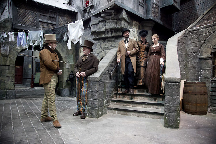 © London News Pictures. 11/02/12.Players from The Seven Dials Rapscallions re-enact life in Victorian London in celebration of Dickens' 200th birthday at Dickens World, Chatham, Kent.  Picture credit should read Manu Palomeque/LNP
