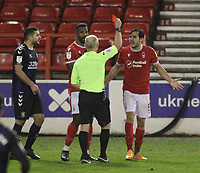 Ref Andy Woolmer sends off Nottingham Forest's Yuri Ribeiro<br /> <br /> Photographer Mick Walker/CameraSport<br /> <br /> The EFL Sky Bet Championship - Nottingham Forest v Middlesbrough - Wednesday 20th January 2021 - The City Ground - Nottingham<br /> <br /> World Copyright © 2020 CameraSport. All rights reserved. 43 Linden Ave. Countesthorpe. Leicester. England. LE8 5PG - Tel: +44 (0) 116 277 4147 - admin@camerasport.com - www.camerasport.com