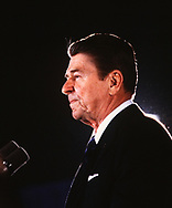 President Roanld Reagan speaking at a Chrysler Plant in St Louis, MO, in February 1983.Photo by Dennis Brack