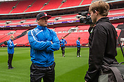 David Pipe being interviewed on the Wembley pitch Forest Green Rovers Football Club Familiarisation visit to Wembley Stadium, London, England on 10 May 2016. Photo by Shane Healey.