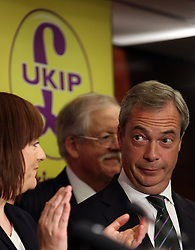 """© Licenced to London News Pictures. 26/05/2014. London. UK.  <br /> Nigel Farage, leader of the UK Independence Party (UKIP), is pictured celebrating his European Parliamentary success in a press conference in London, May 26th 2014. The UKIP leader said his """"dream has become a reality"""" and UKIP is now the """"third force"""" in British politics after it topped the European polls.<br /> Photo Credit: Susannah Ireland"""