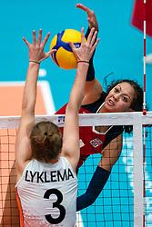 Jordan Middleton of USA, Hyke Lyklema of Netherlands in action during United States - Netherlands, FIVB U20 Women's World Championship on July 15, 2021 in Rotterdam