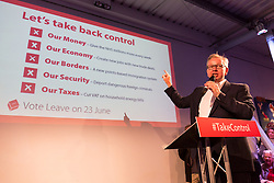 © Licensed to London News Pictures. 04/06/2016. LONDON, UK. MICHAEL GOVE speaking at a Vote Leave rally at Forman's Fish Island in east London. Vote Leave is the official campaign for a Leave vote (Brexit) in the EU Referendum that will take place in the United Kingdom on the 23rd June 2016.  Photo credit: Vickie Flores/LNP