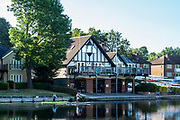 Maidenhead, Berkshire, UK., 29th May 2020, Maidenhead RC, COVID 19, Training, Only private-owned Single Sculls,  General View, Paddle Boarders, pass Maidenhead RC., Boathouse. <br /> <br /> <br /> [© Peter Spurrier/Intersport Images],