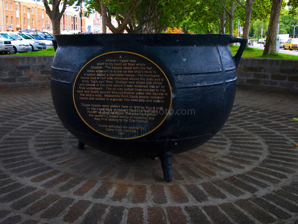 Whaling Try Pots on show in Salamanca, Hobart from the heyday of whaling. ..