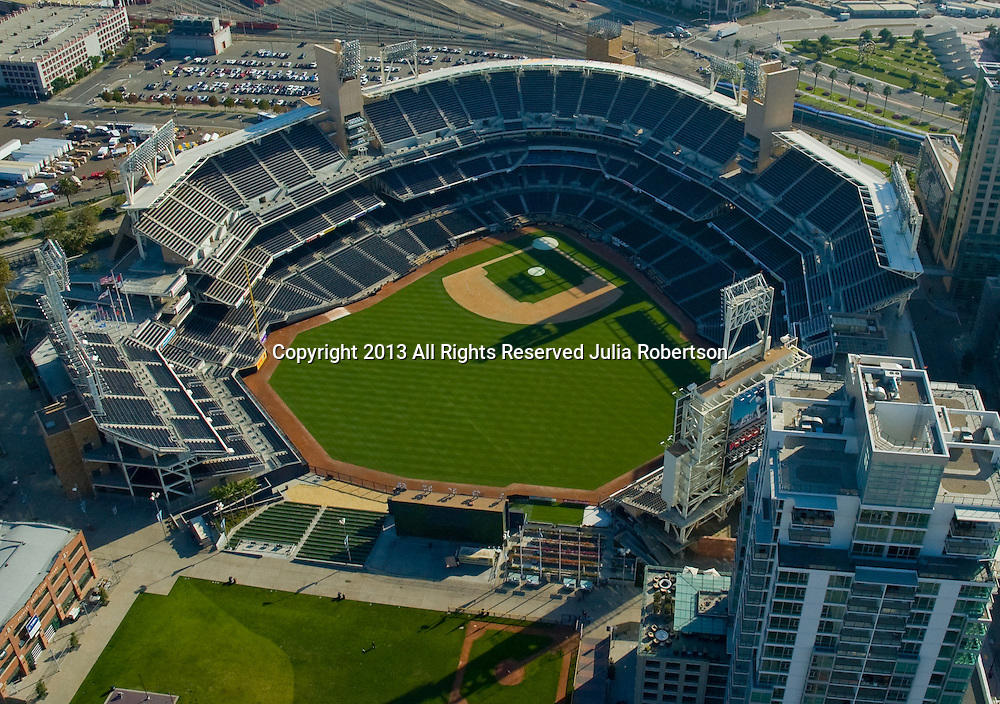 Aerial views of Petco Field, home of the San Diego padres, major league baseball.