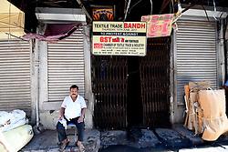 June 27, 2017 - Kolkata, India - Textile trade Strike called Chamber of textile Trade & Industry and protest agents GST on Textiles at Kolkata hole-shale Textile Market on June 27,2017 in Kolkata,India. (Credit Image: © Debajyoti Chakraborty/NurPhoto via ZUMA Press)