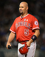 CHICAGO - SEPTEMBER 07:  Albert Pujols #5 of the Los Angeles Angels looks on against the Chicago White Sox on September 7, 2019 at Guaranteed Rate Field in Chicago, Illinois.  (Photo by Ron Vesely)  Subject:   Albert Pujols
