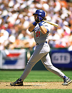 SAN FRANCISCO - 1995:  Mike Piazza of the Los Angeles Dodgers bats during an MLB game versus the San Francisco Giants at Candlestick Park during the 1995 season. (Photo by Ron Vesely) Subject:   Mike Piazza