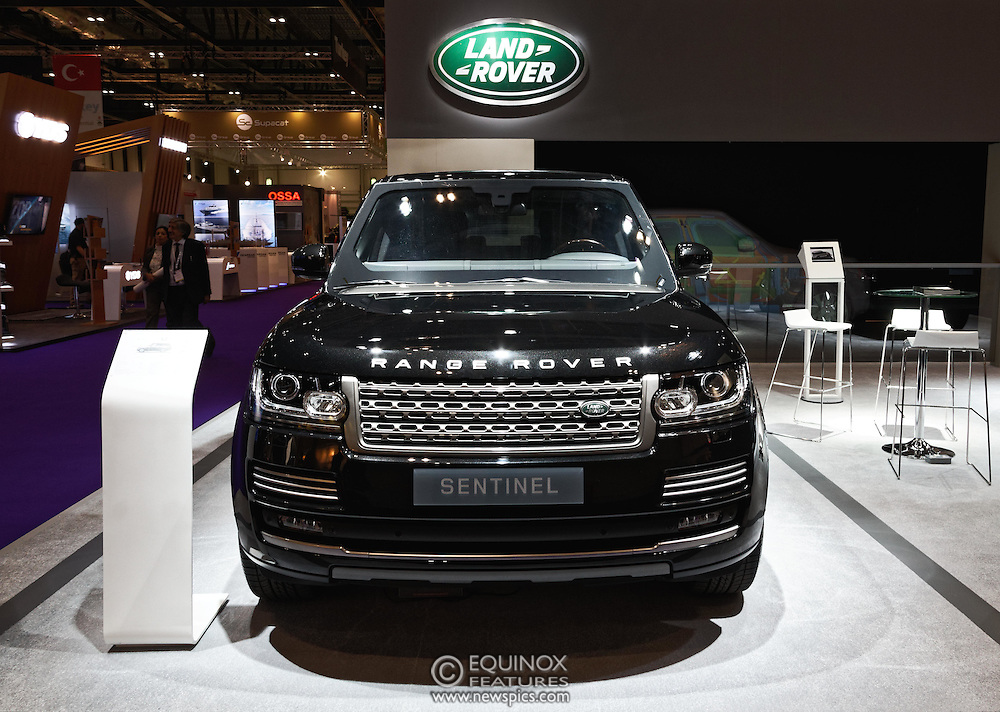London, United Kingdom - 18 September 2015<br /> Land Rover display their new armoured vehicles, the £300,000 Range Rover Sentinel and the £160,000 Land Rover Discovery Sentinel which is set to be the new standard for UK government vehicle protection, at the defence and security exhibition DSEI at ExCeL, Woolwich, London, England, UK.<br /> (photo by: EQUINOXFEATURES.COM)<br /> <br /> Picture Data:<br /> Photographer: Equinox Features<br /> Copyright: ©2015 Equinox Licensing Ltd. +448700 780000<br /> Contact: Equinox Features<br /> Date Taken: 20150918<br /> Time Taken: 14141753<br /> www.newspics.com