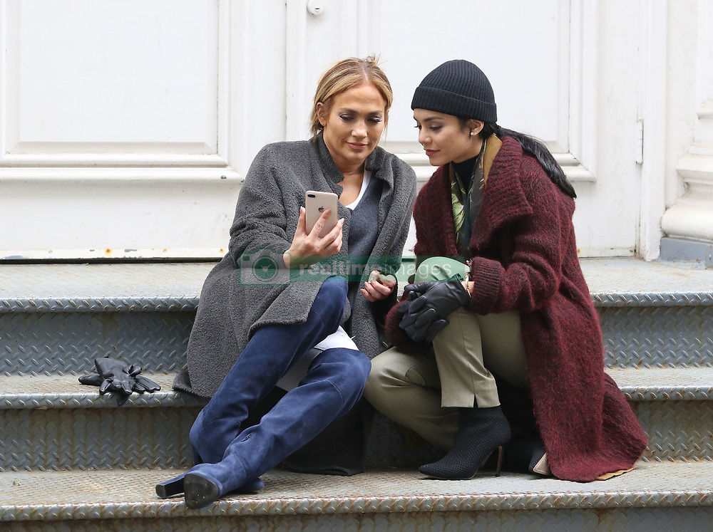 """Jennifer Lopez and Vanessa Hudgens are all smiles while filming reshoots for """"Second Act"""" in Manhattan's Soho neighborhood. 06 May 2018 Pictured: Jennifer Lopez and Vanessa Hudgens. Photo credit: LRNYC / MEGA TheMegaAgency.com +1 888 505 6342"""