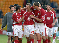 Photo: Ashley Pickering.<br /> Norwich City v Bristol City. Coca Cola Championship. 20/10/2007.<br /> Bristol goal scorer Lee Trundle (no. 23) celebrates at the end of the game with team mates